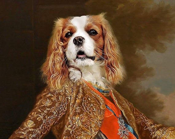 Your dog as King Charles III of Spain Personalized painting from photo | 17th Century Historical Costume | Personalized Gift