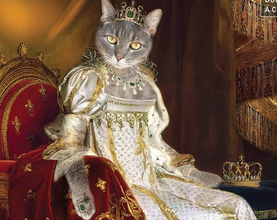 Josephine Coronation, Royal Woman Custom Pet Portraits, Dog or Cat Portrait, 17 century, Digital personalized Pet Portrait by JAnovelty