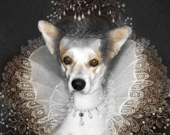 Elizabeth I of England, Custom Pet Portraits, Medieval pet portrait, Renaissance dog portraits, Historical queen pet Funny gift by JAnovelty