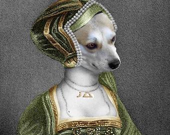 Anne Boleyn, Custom Pet Portraits, Dog or Cat Portrait, Digital personalized portrait painting, using your Pet's Photo