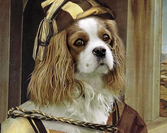 Albrecht Dürer Self-portrait, Custom pet portrait, Medieval dog portrait, Renaissance pet portraits, Funny gift, Dog lover by JAnovelty