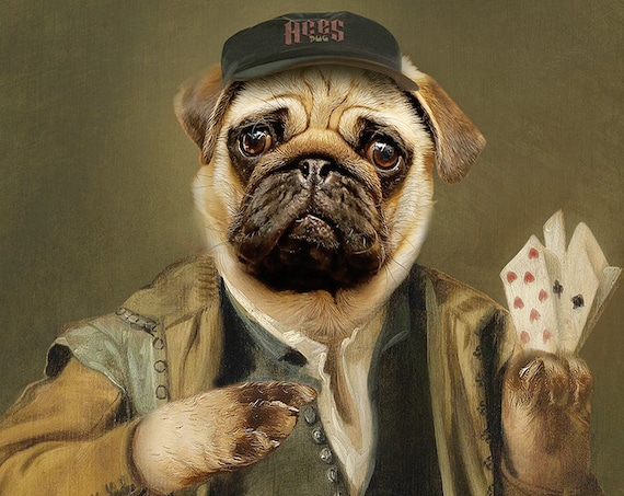Poker Face Pet Portraits, Gambler Pug, Aces Mops, Dog or Cat Portrait, Red, Royal Cat Portrait, Digital personalized portrait, by JAnovelty