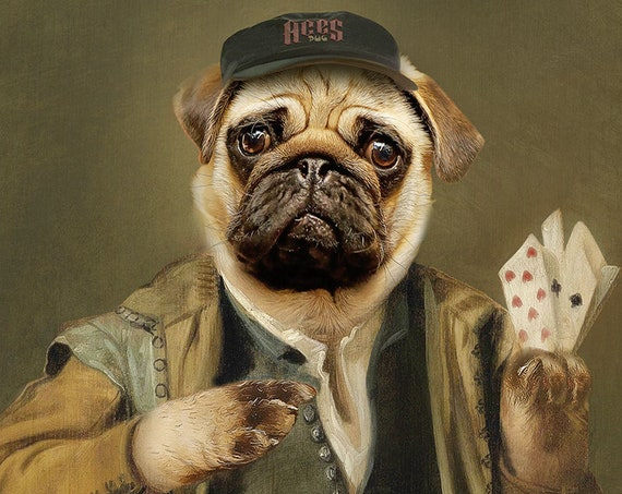Jester, Bandit, Gambler Pug, Godfather, Aces Mops, Dog or Cat Portrait, Digital personalized portrait, by JAnovelty