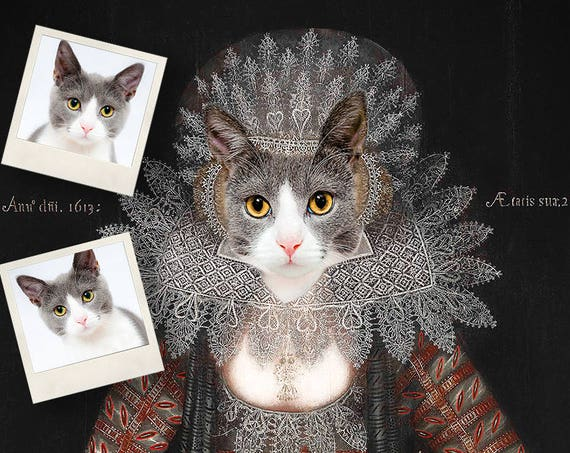 Cat portrait, Custom Pet Portraits, Digital personalized portrait, Medieval cat portrait, Renaissance cat, Vintage, Funny gift by JAnovelty