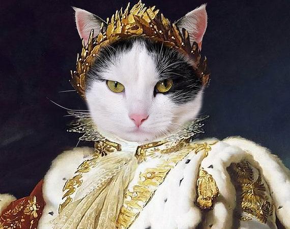 King Pet Portraits, Emperor Napoleon, Dog or Cat Portrait, Crown, Royal Cat Portrait, Digital personalized portrait painting, by JAnovelty