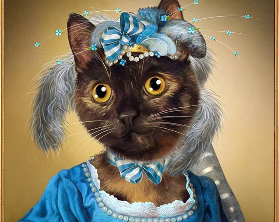 Custom Cat portrait, Custom dog portrait, Funny portrait, Pet Portrait Painting, Custom Pet Portrait, by JAnovelty