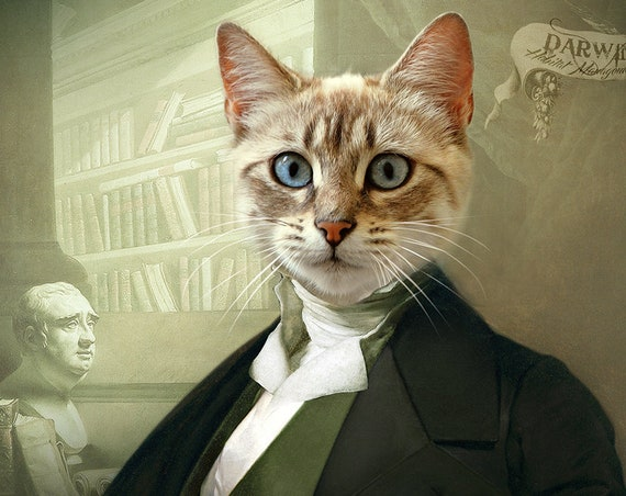 Victorian Gentleman, 18th Century, High class society, Scholar, Pet portrait, Custom Funny  gift Portrait, Personalized gift by JAnovelty