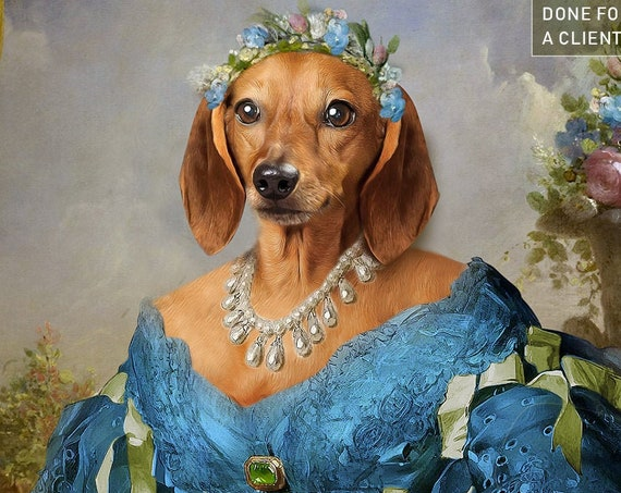 Your dog or cat as a Princess | Southern belle | Digital Portrait | 18th Century Historical Costume | Personalized Gift by JAnovelty