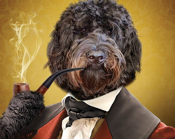Gentleman Dog Portrait, 18th Century, Victorian smoking pipe, Funny Pet, Custom Gift Portrait, custom pet portrait for girlfriend boyfriend