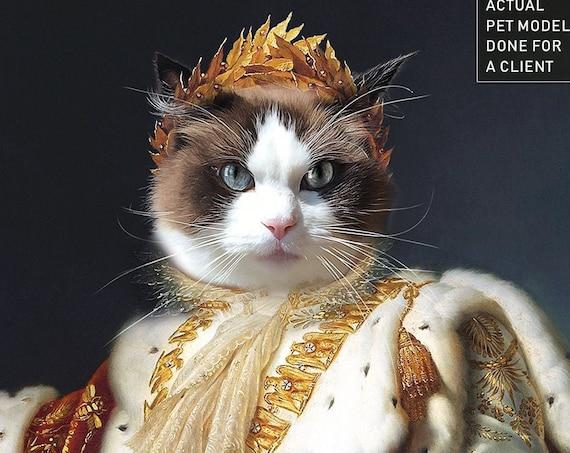 3aa8f89c9695 ... Custom Pet Portrait $41.98 King Pet Portraits, Emperor Napoleon, Dog or Cat  Portrait, Crown, Royal Cat