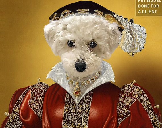 Royal Woman Custom Pet Portraits, Dog or Cat Portrait, Red and Gold, Digital personalized poster, Medieval Pet Portrait by JAnovelty