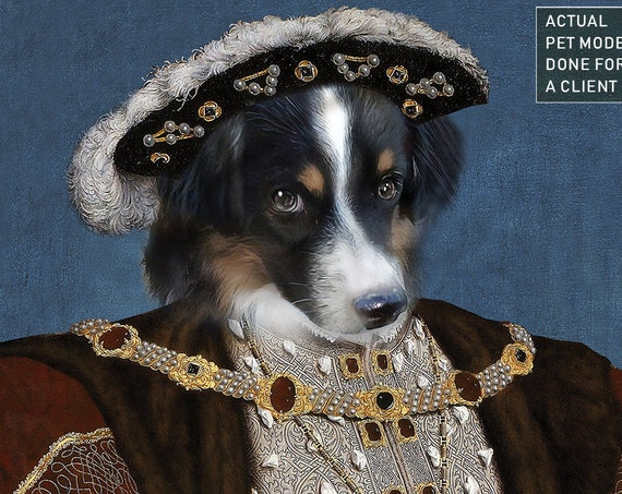 Henry VIII of England, Custom Pet Portrait, Dog Portrait, Renaissance Portrait, Regal Pet Portrait, Commission Pet Art, byJAnoveltyArt