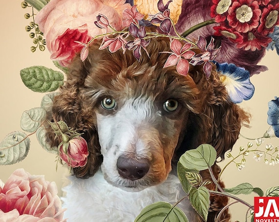 Flower Power Personalized painting from photo | Pet Portrait with flowers | Personalized Gift by JAnovelty