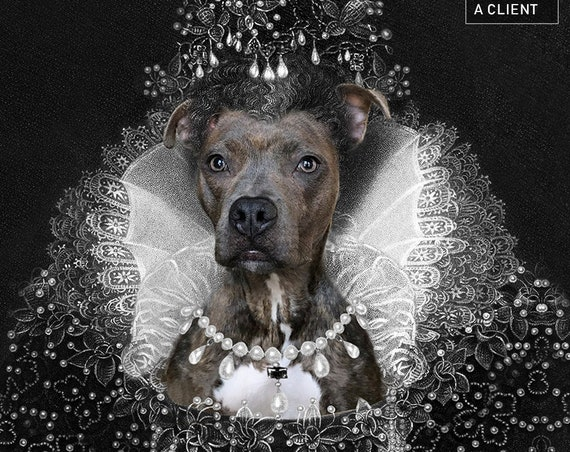 Elizabeth I of England, Custom Pet Portraits, Medieval pet portrait, Renaissance dog portraits, Historical queen pet Funny gift by JAnovelty