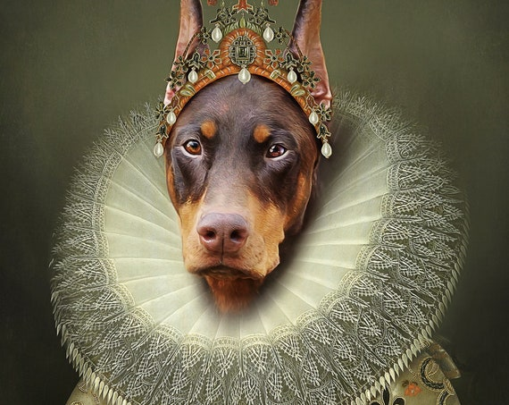 Your dog as Queen Isabela of Spain, Digital Custom Pet Portrait from photo, Medieval Wall Art