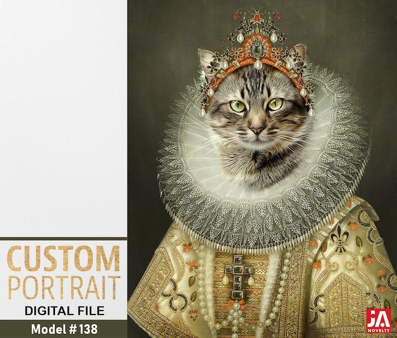 42cb5842c3d1 Aristocrat cat Cat lover Royal pet portrait Renaissance pet | Etsy
