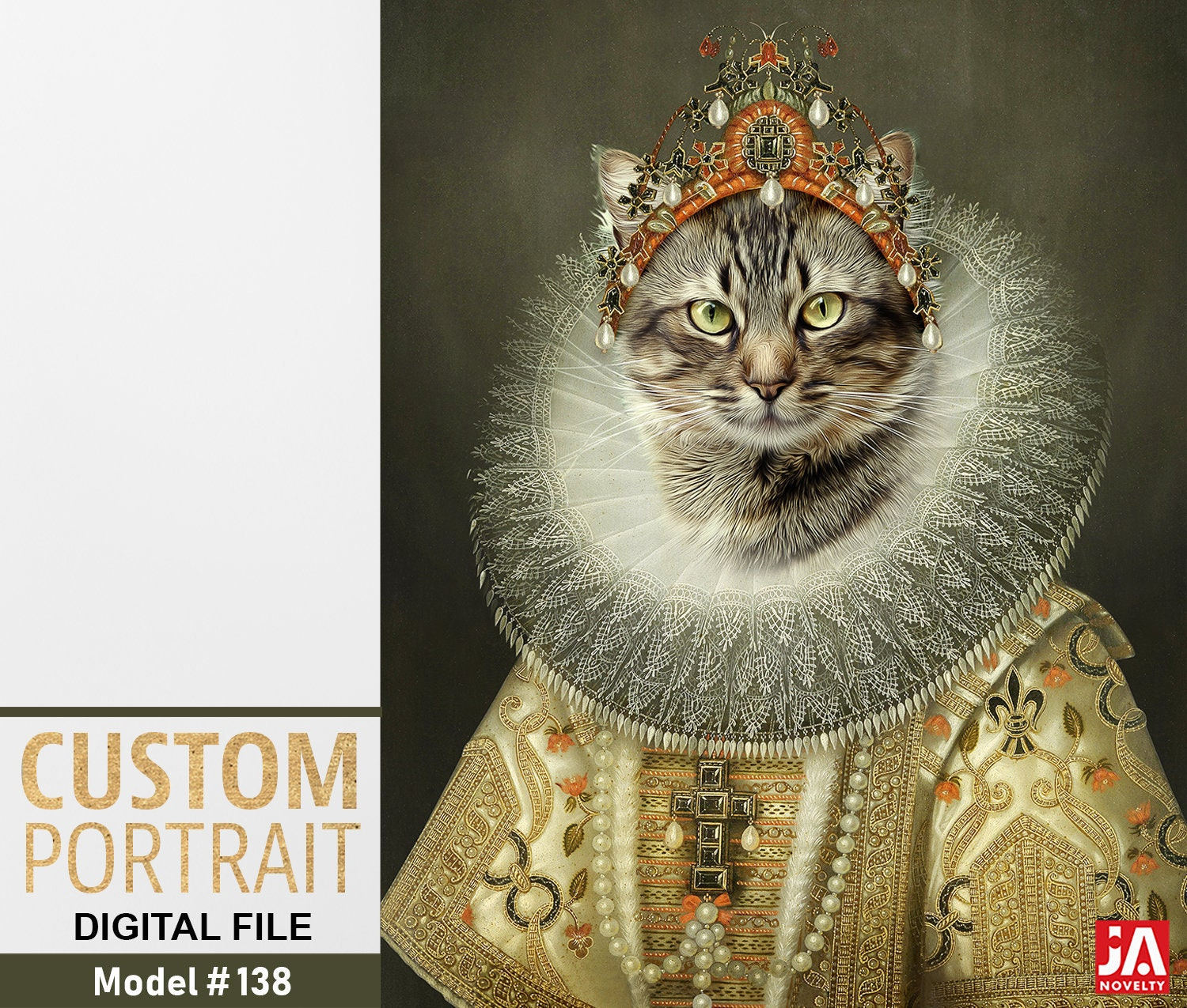 55eaf40c4942 Aristocrat cat, Cat lover, Royal pet portrait, Renaissance pet portraits,  Regal cat, Medieval pet portrait, Custom pet portrait by janovelty
