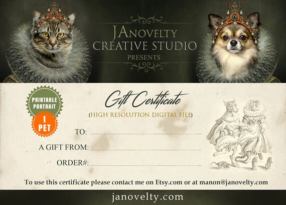Gift Certificate | Medieval Pet Painting Voucher | Last Minute Coupon | Surprise Custom Gift by JAnovelty
