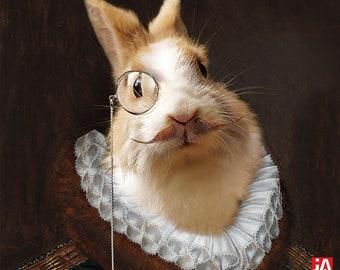White Rabbit, Easter Medieval pet portrait, Custom pet portrait, Renaissance pet portraits, Historical pet portrait, Custom Pet by JAnovelty