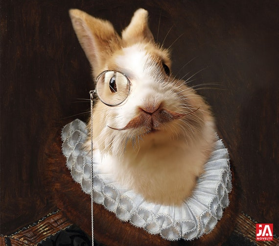 White Rabbit, Easter Medieval pet portrait, Custom pet portrait, Renaissance pet portraits, Historical pet portrait, Custom Pet by JAnovelty