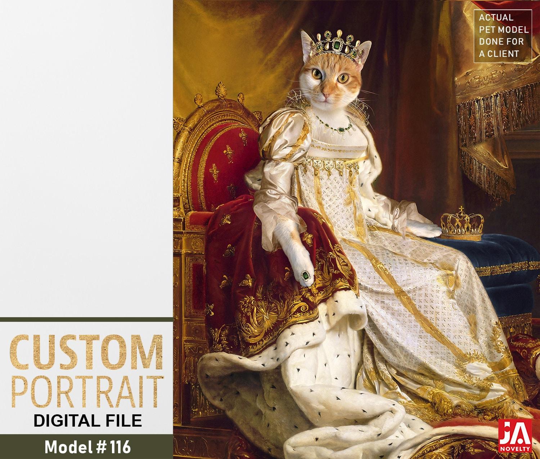 86b664e36e61 Josephine Coronation, Royal Woman Custom Pet Portraits, Dog or Cat Portrait,  17 century, Digital personalized Pet Portrait by JAnovelty