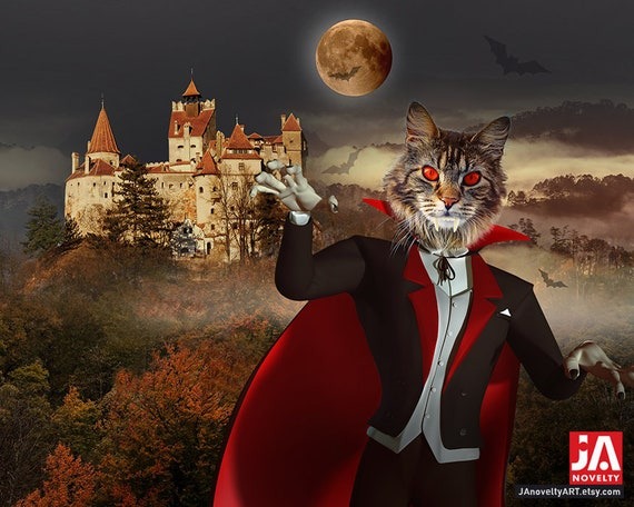 Your Pet as Count Dracula, Vampire Poster, Made in Transylvania, Blood Moon, Scary Night, Custom Gift Portrait, House Decor, Halloween Party