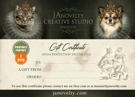 Gift Certificate 2-Characters | Medieval Pet Painting Voucher | Last Minute Coupon | Surprise Custom Gift by JAnovelty