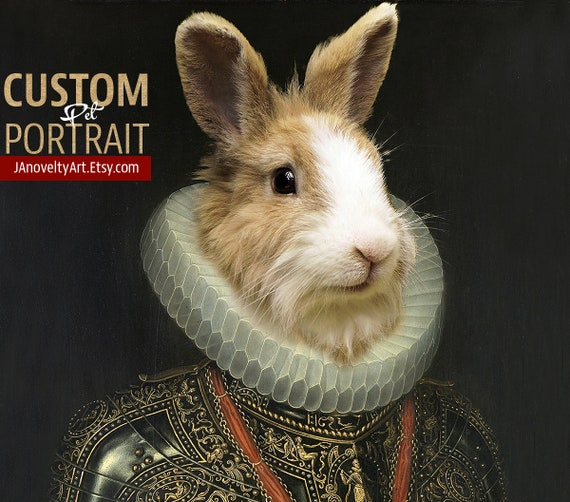 Easter Mr. Rabbit, Medieval pet portrait, Custom pet portrait, Renaissance pet portraits, Historical pet portrait, Custom Pet by JAnovelty