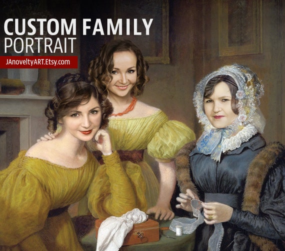 Mother and daughters, Sisters and mom, Custom family portrait, Classical art painting, Personalized gift present, Funny Family Painting