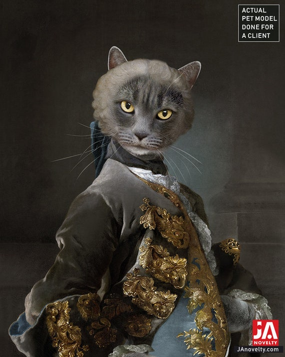 Your cat on famous painting historical portrait, Christmas Gift for men, classical art, Victorian portrait, Renaissance portraits