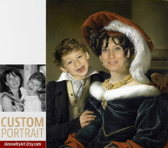Mother and son, Custom couple portrait, Classical art painting, Funny gift, Personalized present, Renaissance, Funny portraits by JAnovelty