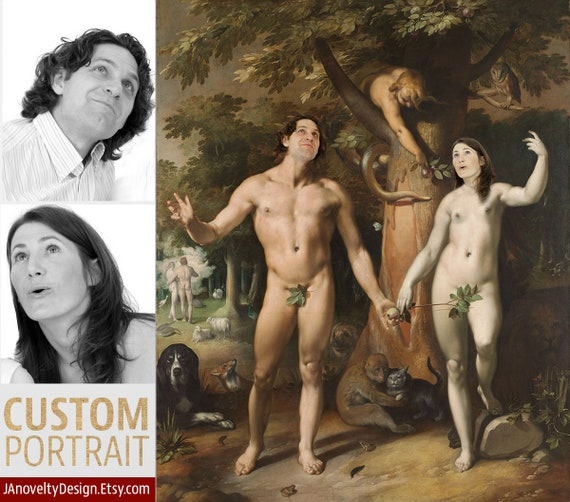 Adam and Eve, Custom couple portrait, Classical artwork, Funny gift, personalized present, Renaissance portrait, Medieval by JAnovelty