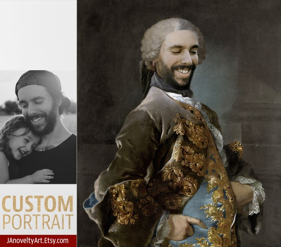 Your face on famous painting historical portrait, Gift for men, classical art, Victorian portrait, Renaissance portraits  by JAnovelty