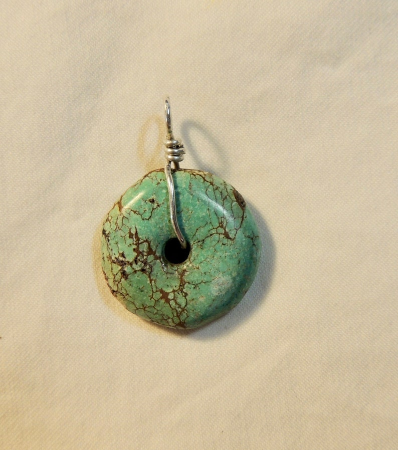 Sterling silver Turquoise Energy Donut Pendant Crystal Healing Natural