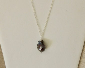 Genuine Black Freshwater Pearl and Sterling Silver Necklace