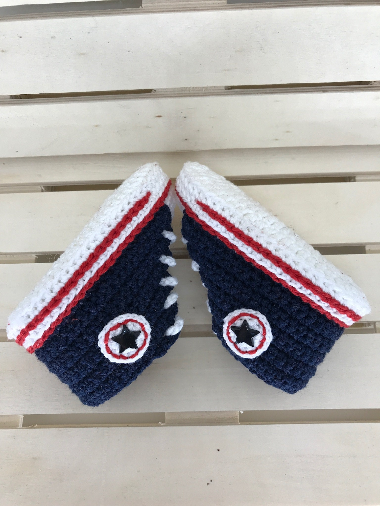 556efb54e Crochet baby sneakers blue navywhiteconverse stylewool