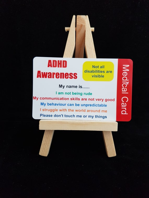 Adhd Awareness Medical Id Wallet Card Disability Invisible Etsy