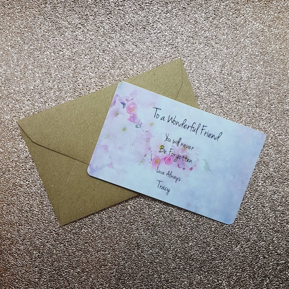 Personalised Funeral Flowers Pvc Message Card Sympathy Card Etsy