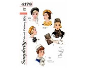 60s Pillbox Hat, Reversible Beret, Scarves, Bag and Rosette, One Size, Simplicity 4178, Vintage Sewing Pattern Reproduction