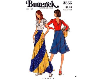 05e6ad9d31 70s Bias Swirl Skirt in Two Lengths and Top, Butterick 3555, Size 12 Bust  34 Waist 36, Vintage Sewing Pattern Reproduction