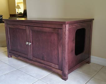 Etonnant Double Sided, Divided, Odor Free, Hand Made In USA, Wood Cat Litter Box  Cabinet. Hinged Lid. Smooth Sides. No Assembly Needed. Not MDF