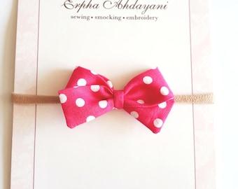 summer baby headband and bow, red polka dot baby bow, pink polka dot baby bow, nylon baby headband, toddler bow