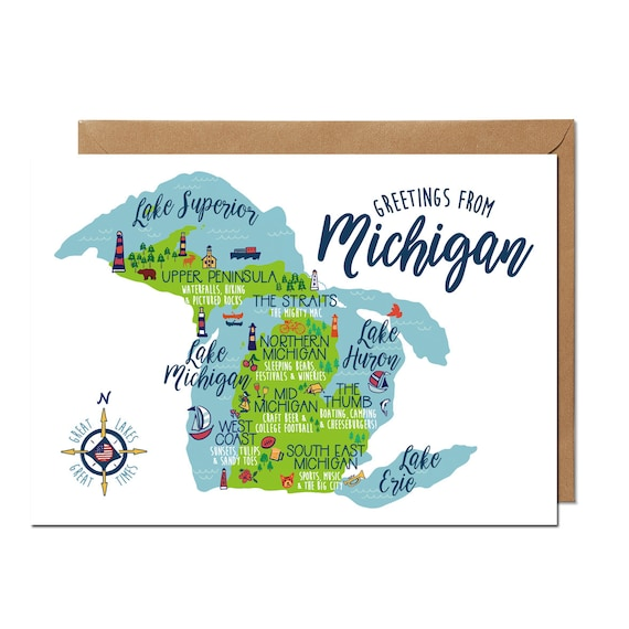 Greetings from michigan greeting card etsy image 0 m4hsunfo