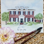8 x 10 Custom Home Portrait, Hand Painted Watercolor Art, Original Painting, House Portrait watercolor // Housewarming Gift or Realtor Gift