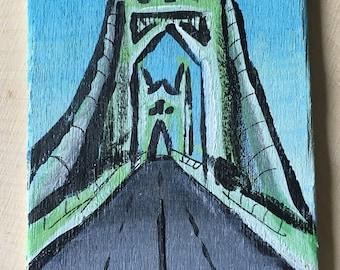 St. John's Bridge - Miniature Acrylic Painting and Magnet