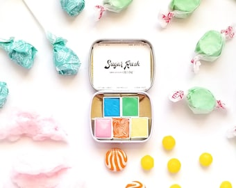 "Handmade Watercolor ""Sugar Rush"" Paint Set of 5 Half Pans - Travel Tin - Bible Journaling - Handlettering - Non Toxic - Gift - Mica - Pink"