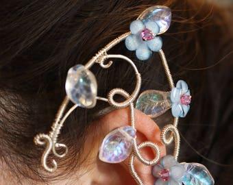 Blue flower elf ear cuff