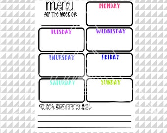 Printable Planner Page, SVG, PNG, Weekly Meal Planner, Printable Menu Planner, Instant Download Planner Page, Grocery List PNG