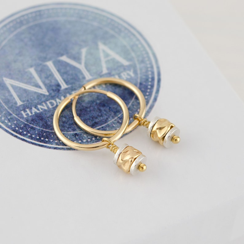 Gold Hoops with Charms \u2022 Minimalist Everyday Earrings \u2022 14K Gold Hoop Earrings \u2022 Endless Gold Hoops \u2022 Mixed Metal jewelry \u2022 Gift for Her