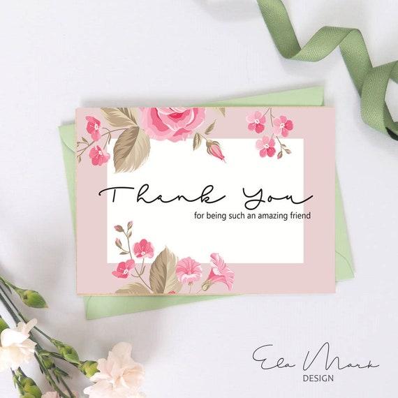 Thank You Card Friend Card Friendship Card Greeting Card Etsy